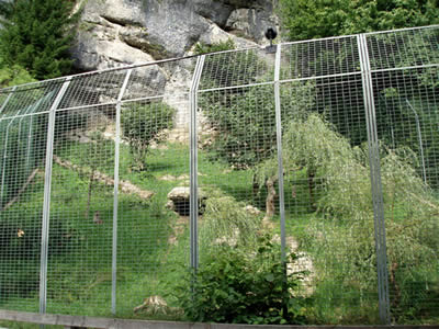 A high zoo fence made of stainless steel welded mesh beside a mountain in a wide range, we can see a tiger around here.