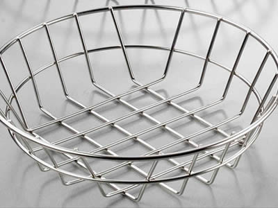 A small size shallow circular stainless steel welded mesh.