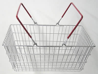 A small size rectangular stainless steel welded mesh basket, with two flexible handles on the basket.