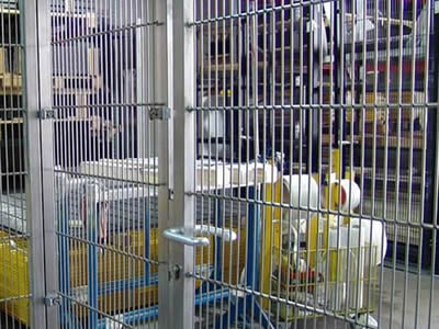 Some important machines are separated from outside with stainless steel welded mesh in order to protect them.