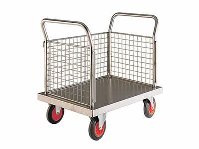 A stainless steel welded mesh platform cart with stainless steel plate bottom, three mesh sides, two handles, four rubber wheels.