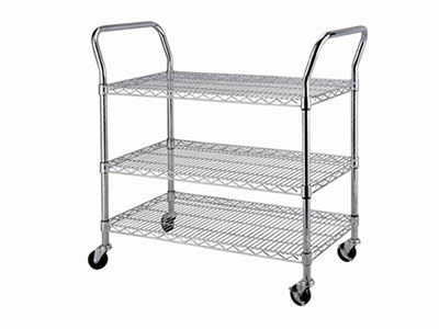 A three-tier stainless steel welded mesh rolling cart with four wheels and two handles.