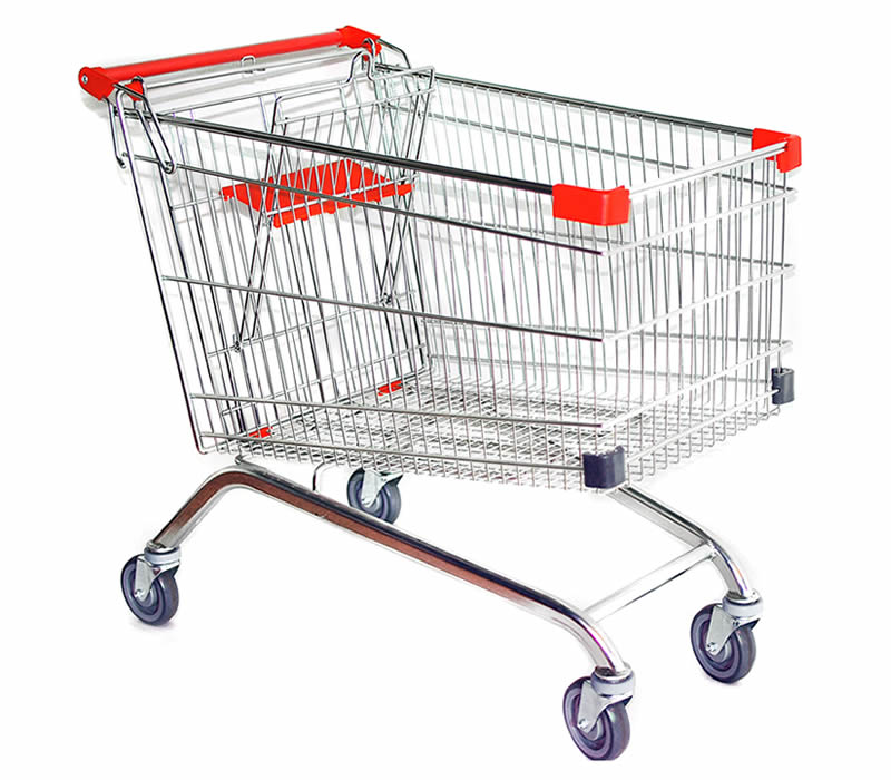 A trolley with four wheels made of stainless steel welded mesh, its handle and the front corners is plastic.