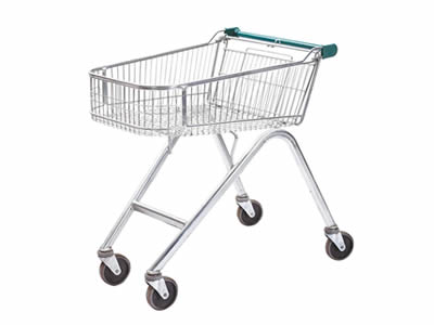 A small stainless steel welded mesh trolley with four wheels, its legs are high.