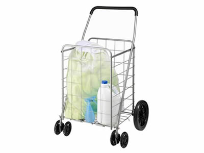 Stainless steel welded mesh utility cart with  articles in, with high handle and two small wheels ahead big wheels behind.