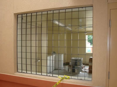 The window of one house is made up of stainless steel welded mesh totally.