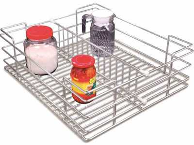 A small basket made of stainless steel welded mesh with bright surface.